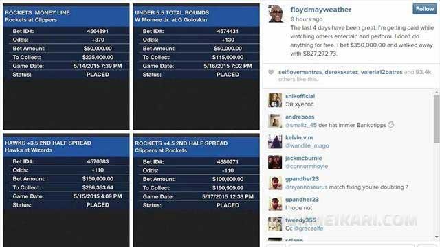 Floyd Mayweather $827,000 алози