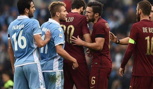 """Рома и Лацио полуфинален мач от турнира за купата на Италия """"Олимпико""""."""