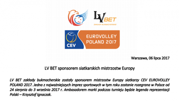LV Bet спонсор Европейско първенство волейбол.
