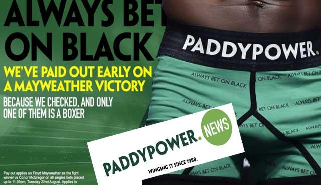 """Paddy Power Мейуедър """"Винаги залагай на черно"""""""