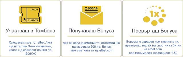 кръг от efbet Лига  500 лв. бонус